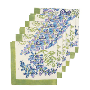 Wisteria Green & Blue Napkins, Set of 6