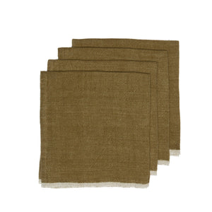 Chunky Linen Forest Green Napkins, Set of 4