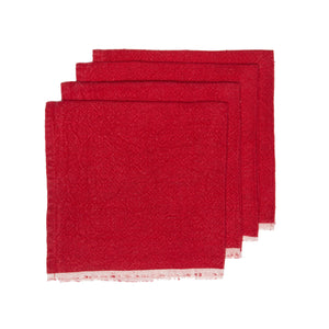 Chunky Linen Red Napkins, Set of 4
