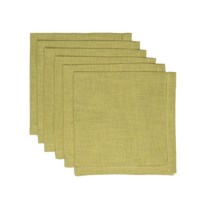 Hemstitch Napkins Kiwi, Set of 6