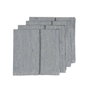 Linen Stitch Napkins Chambray Stripe, Set of 4