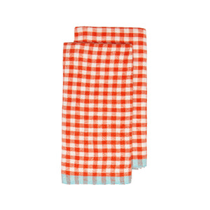 Two-Tone Gingham Kitchen Towels Orange & Aqua, Set of 2