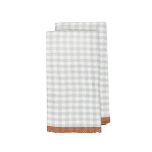 Two-Tone Gingham Kitchen Towels Blue & Cognac, Set of 2