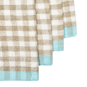 Two-Tone Gingham Napkins Natural & Aqua