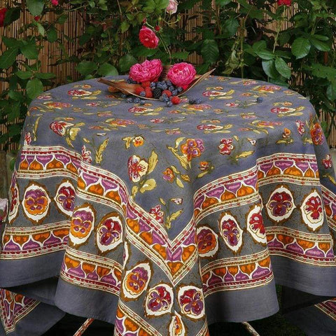 French_tablecloth_pansy_red_grey_1. French Tablecloth ...
