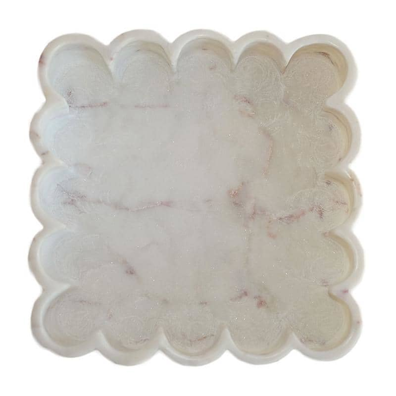 Marble Square Petals Tray Couleurnature