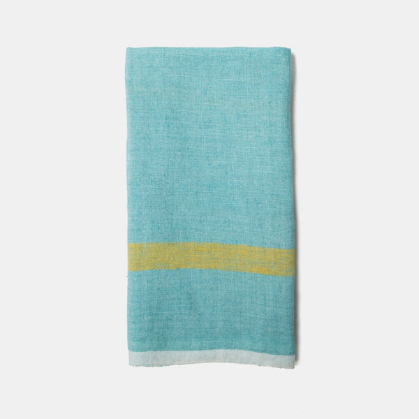 Laundered Linen Towels Aqua & Lime, Set of 2