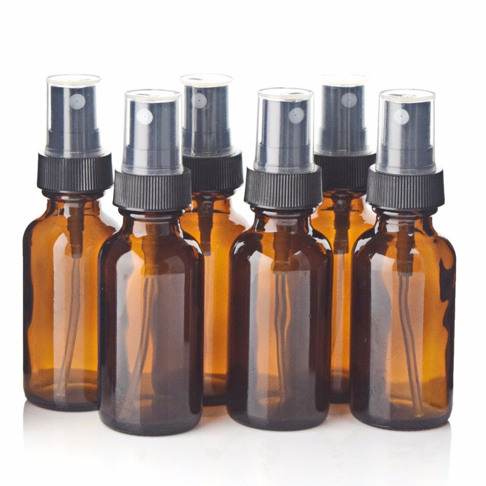 6pcs 1oz 30ml Amber Glass Spray Bottle