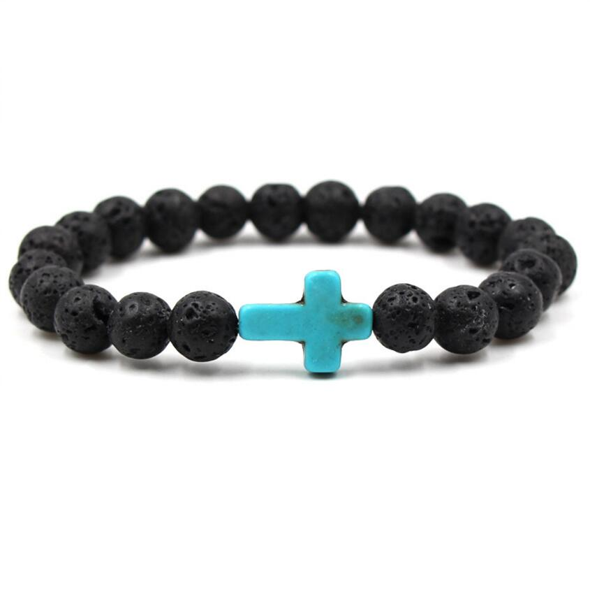Stone Cross Lava Beads Bracelet