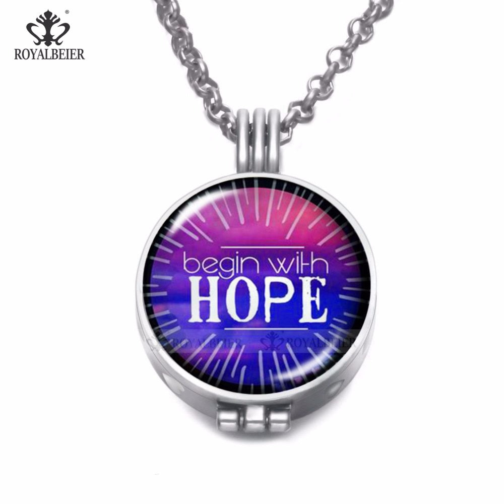 Hope and Love Essential Oil Diffuser Necklace