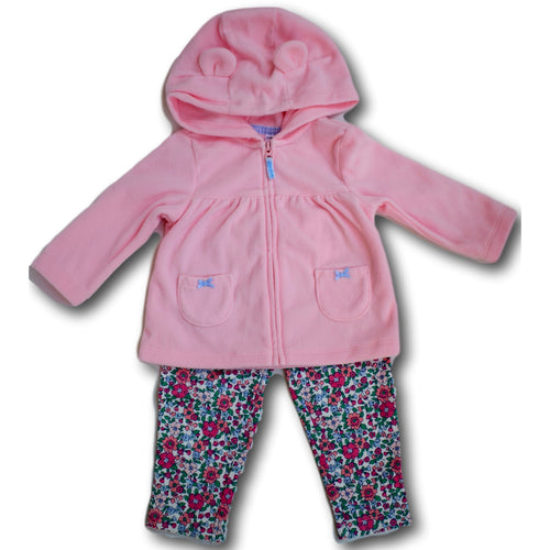 2 Piece Pink Jacket and Floral Pants - A Little Kiddie