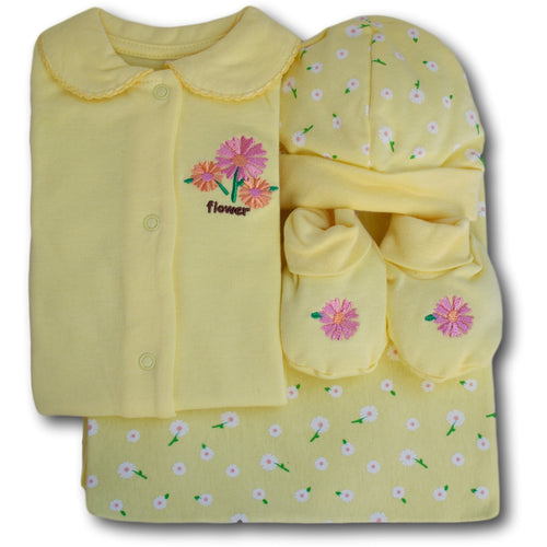Flower 4 Piece Baby Set - A Little Kiddie