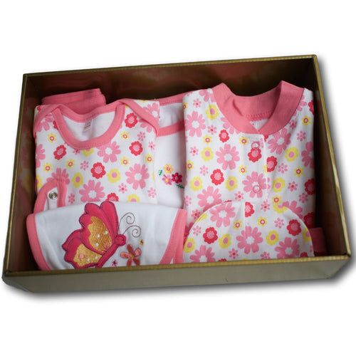 Flower & Butterfly 6 Piece Baby Hamper - A Little Kiddie