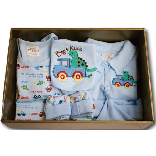 Dinosaur and Truck 7 Piece Baby Hamper - A Little Kiddie