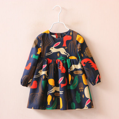 Long Sleeve Animals Graffiti Dress - A Little Kiddie