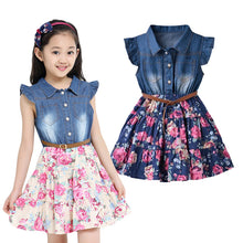Denim and Flower Dress - A Little Kiddie