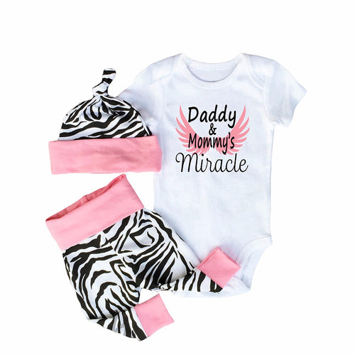 3PCS Super Cute Baby Set With Bodysuit + Pants + Beanie