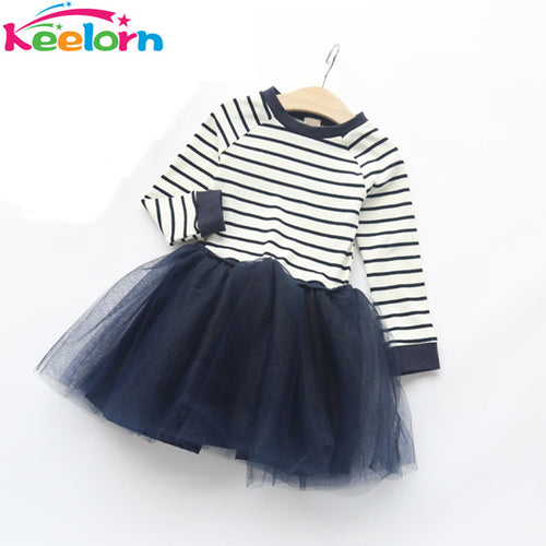 Keelorn Stripy & Mesh Tutu Dress - A Little Kiddie