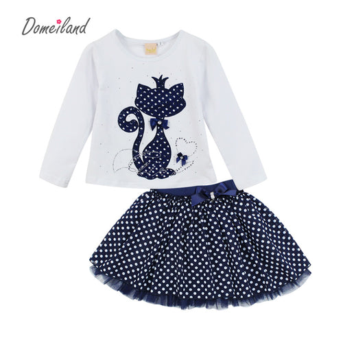 DOMEILAND Kitty Boutique Girls Sets With Cute Cat Print Long Sleeve Tee Top & Bow Tutu Skirts