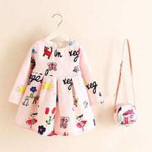 Long Sleeve Winter Floral Print Dress with Matching Little Cute Bag - A Little Kiddie