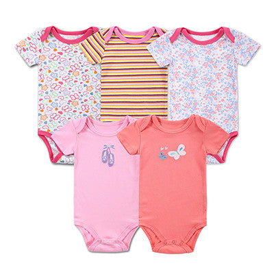 Unisex 5-Pack Short Sleeve Organic Short sleeves Bodysuits For 3 - 12 M