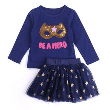 2 PCS Be A Hero Long Sleeve Tee Top & Golden Stars Skirt