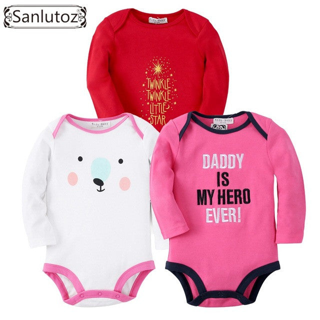 Sanlutoz Mixed 3 pcs Baby Long Sleeves Bodysuits For 4 - 24 M - A Little Kiddie