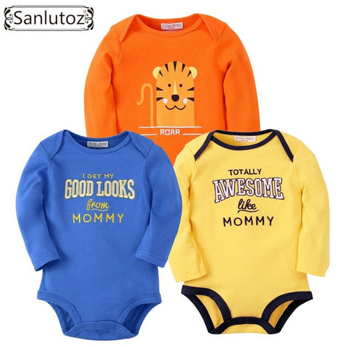 Sanlutoz Mixed 3 pcs Baby Long Sleeves Bodysuits For 4 - 24 M