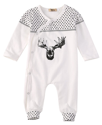 Cotton Organic Reindeer Baby Long Sleeve Bodysuit - A Little Kiddie