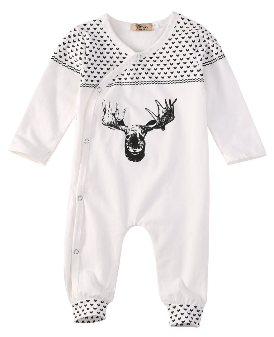 Cotton Organic Reindeer Baby Long Sleeve Bodysuit