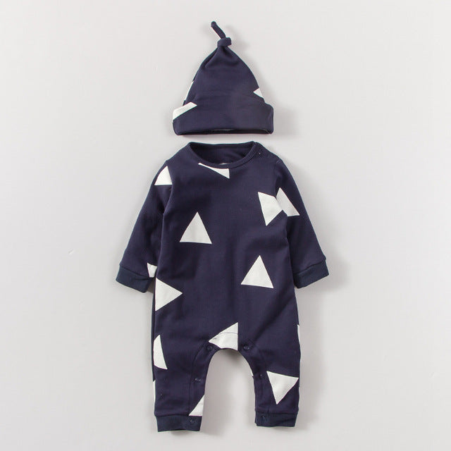 Triangle 2 Pcs Baby Set For 0-18M With Long Sleeves Bodysuit + Beanie - A Little Kiddie