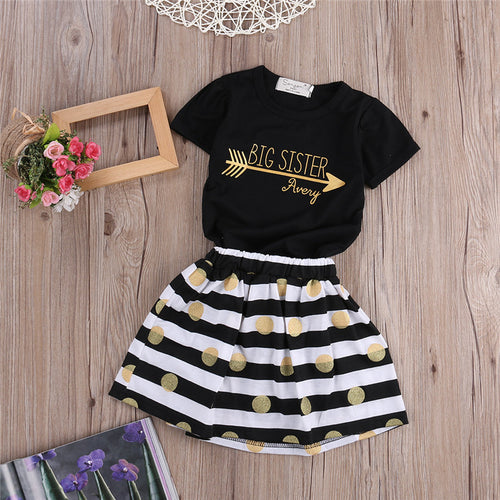 2PCS Big Sister Set With Tops + Golden Dot Stripe Skirts
