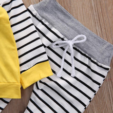 Adorable Stripy Baby 2 PCS Set With Long Sleeves Hoody + Long Stripe Pants