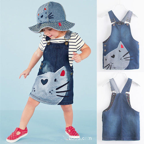 Cat Denim Braces Skirt - A Little Kiddie
