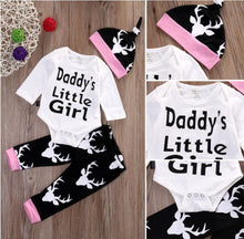 Daddy's Little Girl 3 pcs Baby Girls Set With Long Sleeves bodysuit +Long Pants + Hat For Newborn to 12 M