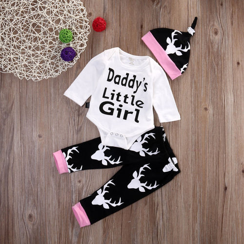 Daddy's Little Girl 3 pcs Baby Girls Set With Long Sleeves bodysuit +Long Pants + Hat For Newborn to 12 M - A Little Kiddie
