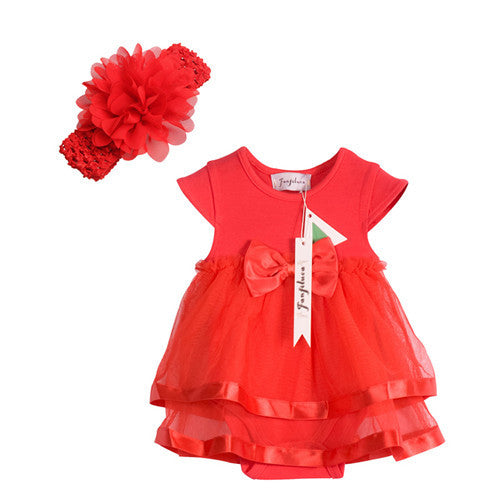 Fanfiluca Cotton Lace Baby Girl Dress + Headband