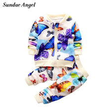 Sundae Angel Colourful Butterfly Kids 2 pcs Set With Long Sleeves Tee Top + Pants For 1 - 4 Y
