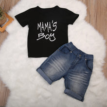2 PCS Mama's Boy Set With Short Sleeve Cotton Tee Top + Denim Shorts For 1-6Y