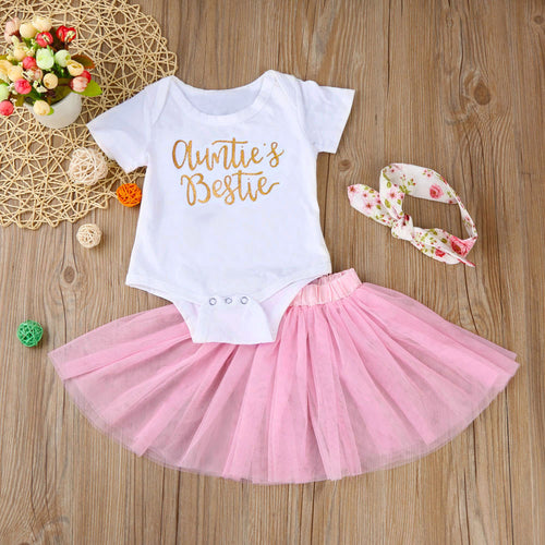 3Pcs Auntie & Bestie Set With Short Sleeves Bodysuit + Tutu + Headband For 6 - 24 M