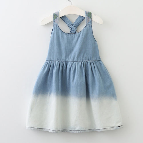 Crossed Back Denim  Dress For 3-7Y