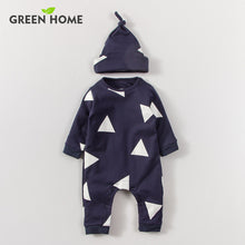 Triangle 2 Pcs Baby Set For 0-18M With Long Sleeves Bodysuit + Beanie