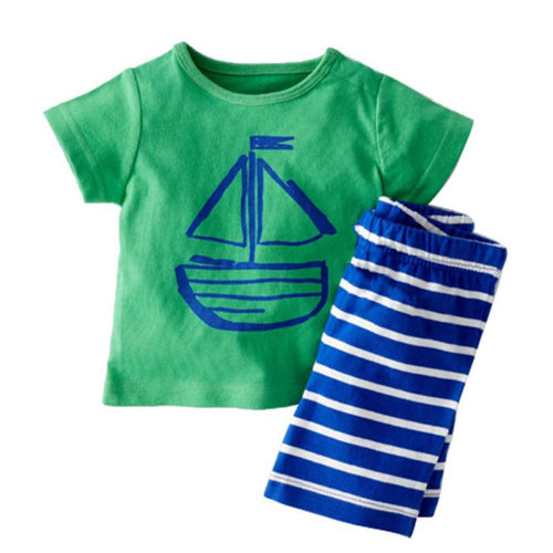 Beach Boy 2 PCS Set With Tee Top + Shorts - A Little Kiddie