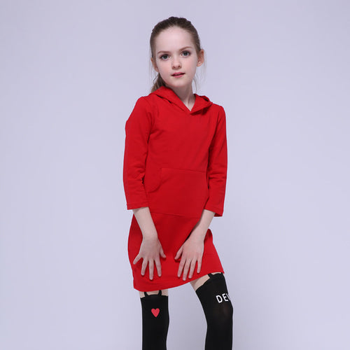 Kangaroo Pocket Hoodie Dress - A Little Kiddie
