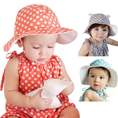 Polka Dots Sun Hat - A Little Kiddie