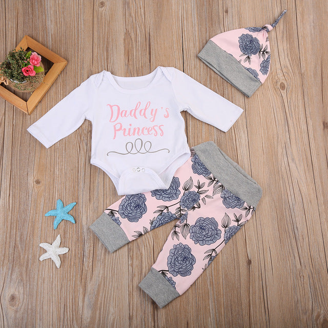 4 PCS Daddy's Princess Baby Set With Long Sleeves Bodysuit + Pants + Beanie + Headband - A Little Kiddie