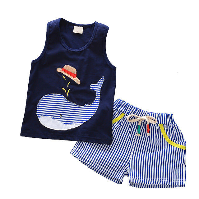 2 PCS Stripy Blue Whale Set With Sleeveless Tee + Shorts