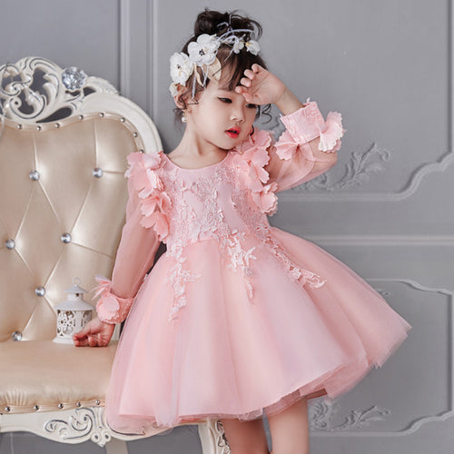 Flowers and Bow Party Dress - A Little Kiddie