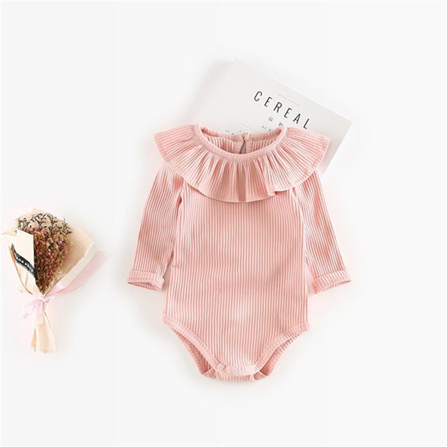 Pleated Neck Knitted Romper For 3 to 24 M