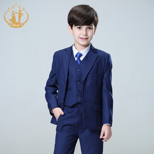 3 Pieces Nimble Blue Tuxedo Set Incl. Blazer + Trousers + Vest - A Little Kiddie